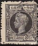 Sellos del Mundo : Europa : España : ESPAÑA 1898 240 Sello Alfonso XIII  Recargo 5c. Sello Impuesto de Guerra Usado