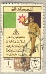 Sellos del Mundo : Asia : Irak : saludo militar sobre bandera