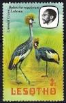 Sellos del Mundo : Africa : Lesotho : Aves. Grulla de cresta dorada. Balearica regulorum Lehemu.