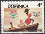 Sellos del Mundo : America : Antigua_y_Barbuda : Dominica 1980 Scott 683 Sello Nuevo Disney Peter Pan Capitan Garfio, Sinee y Princesa India