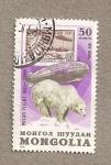 Sellos de Europa - Mongolia -  Vuelo dirigible por ártico