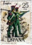 Sellos del Mundo : Europa : España : Uniformes militares. Infantería ligera