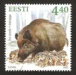 Sellos del Mundo : Europa : Estonia : fauna, sus scrofa